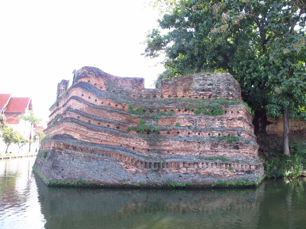 fragment of city wall and moat in Chiang Mai