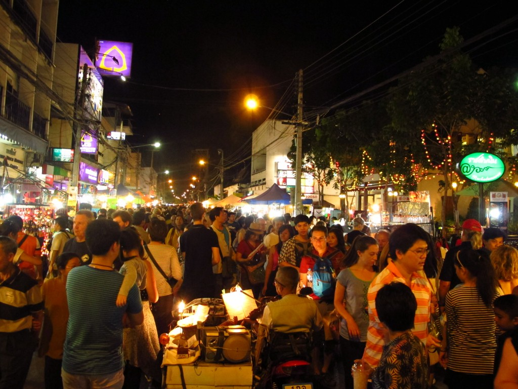 The market gets very busy after dark
