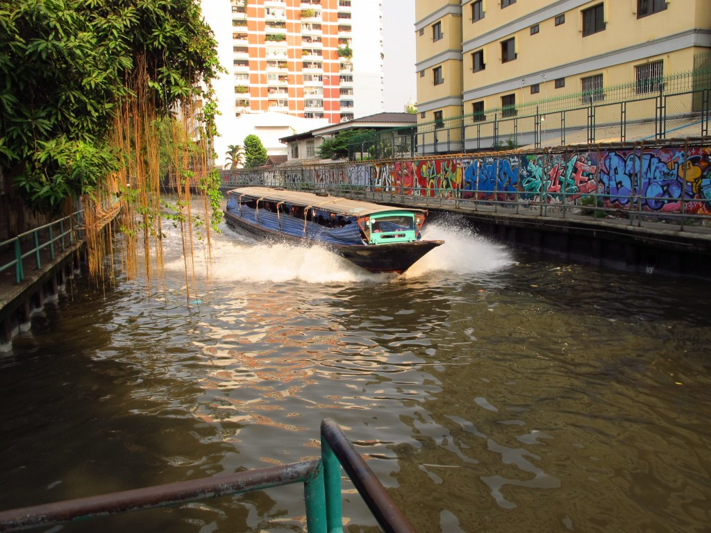 water taxi speeding on a canal